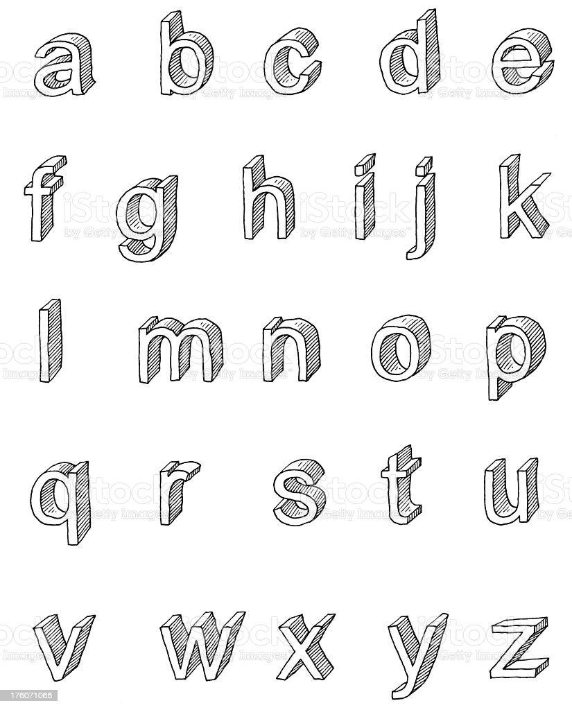 Lower case san serif shaded royalty-free stock vector art