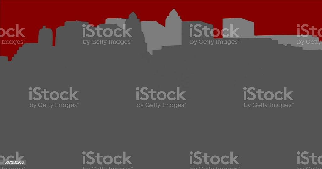 Lower Manhattan silhouette on red background vector art illustration