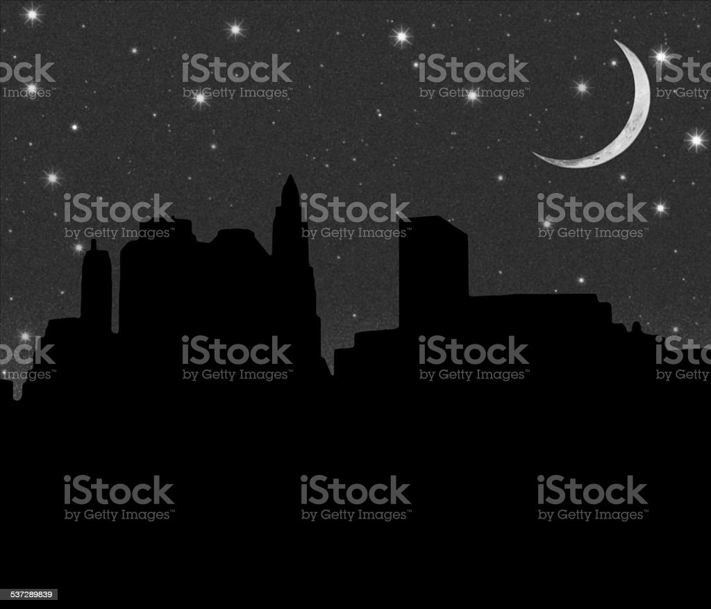 Lower Manhattan silhouette on the night starry sky background vector art illustration
