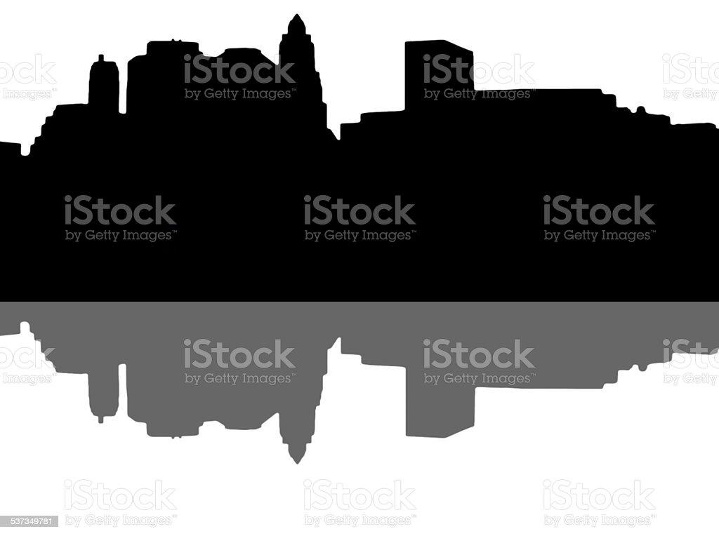Lower Manhattan silhouette on white background vector art illustration