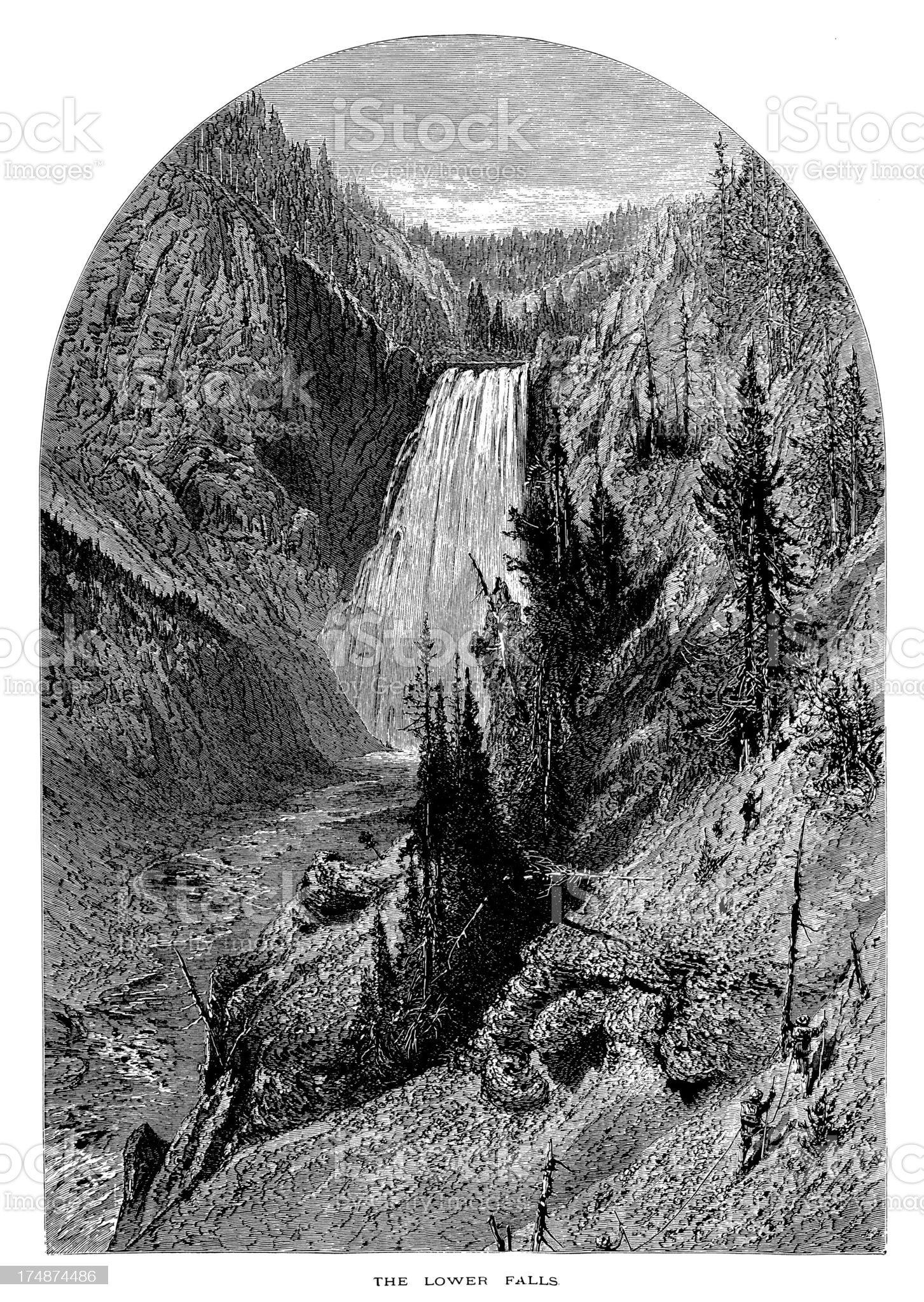 Lower Yellowstone Falls, USA royalty-free stock vector art