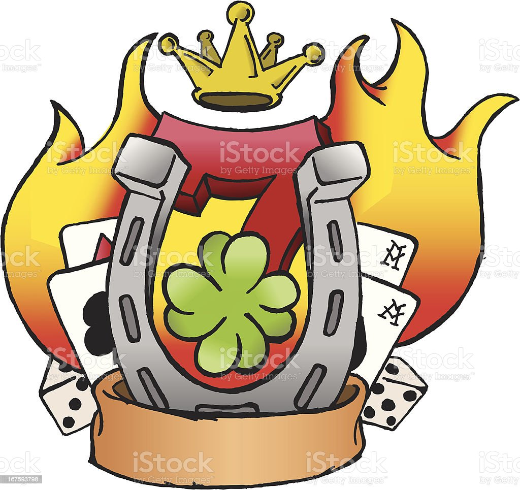 Lucky Tattoo - Traditional style royalty-free stock vector art
