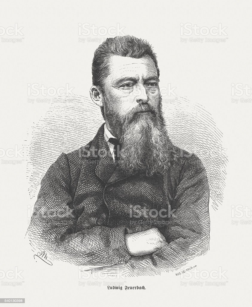 Ludwig Feuerbach, German philosopher, wood engraving, published in 1872 vector art illustration