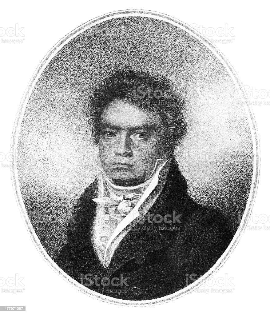 Ludwig van Beethoven - Antique Engraved Portrait royalty-free stock vector art