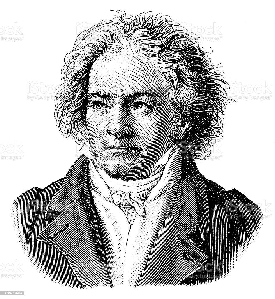 Ludwig van Beethoven   Antique Portrait Gallery vector art illustration