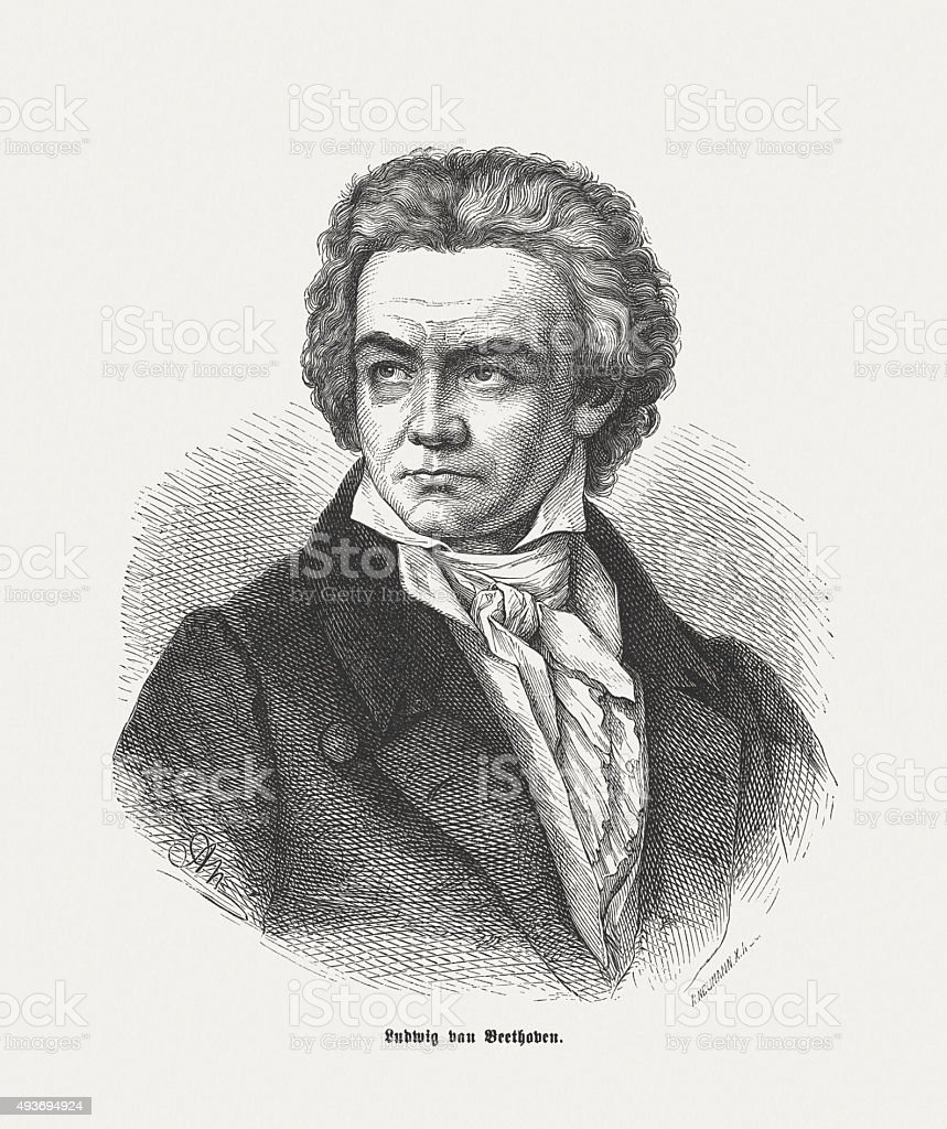 Ludwig van Beethoven (1770 - 1827), German composer and pianist vector art illustration