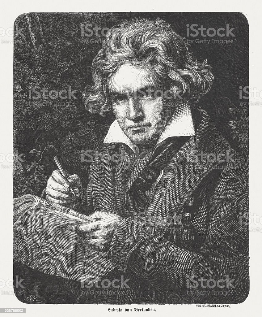 Ludwig van Beethoven (1770-1827), German composer and pianist, published 1869 vector art illustration