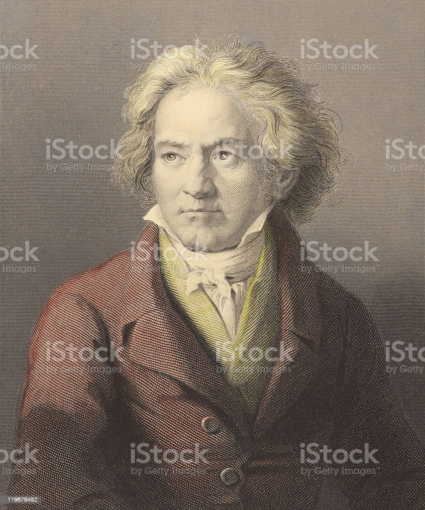 Ludwig van Beethoven in sepia colored photo vector art illustration