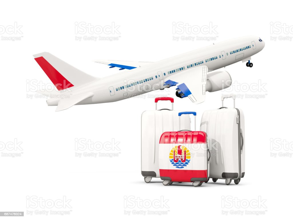 Luggage with flag of french polynesia. Three bags with airplane stock photo