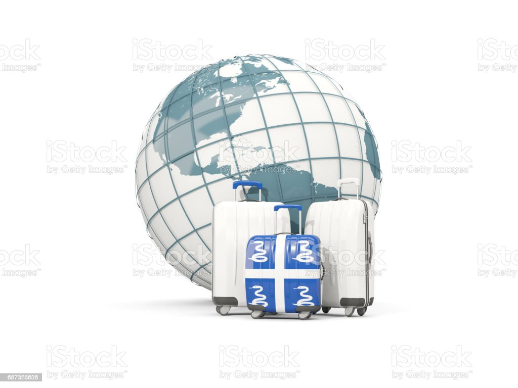 Luggage with flag of martinique. Three bags in front of globe vector art illustration