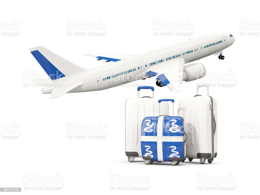 Luggage with flag of martinique. Three bags with airplane vector art illustration