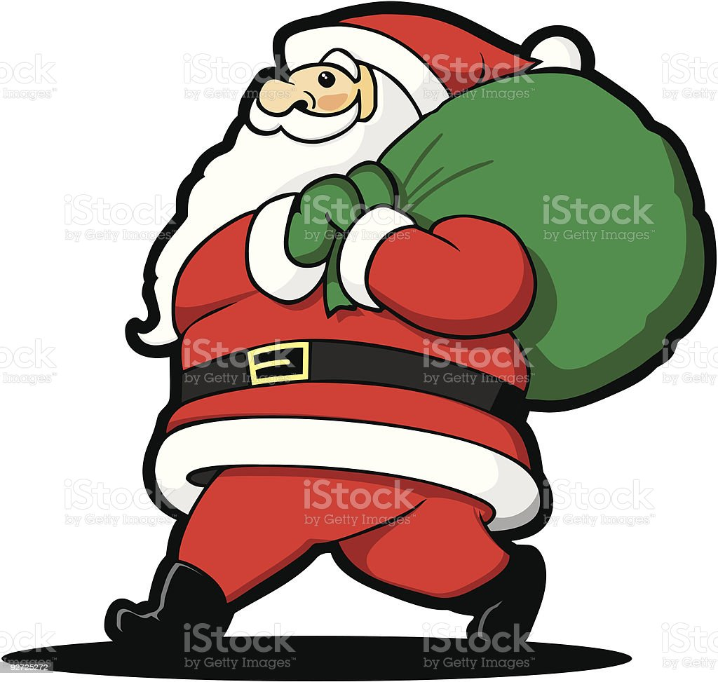 Lugging Santa royalty-free stock vector art