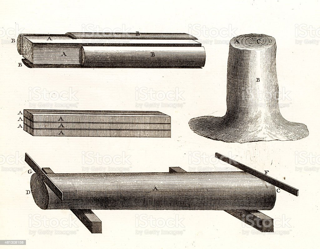 Lumber manufacture antique engraving vector art illustration