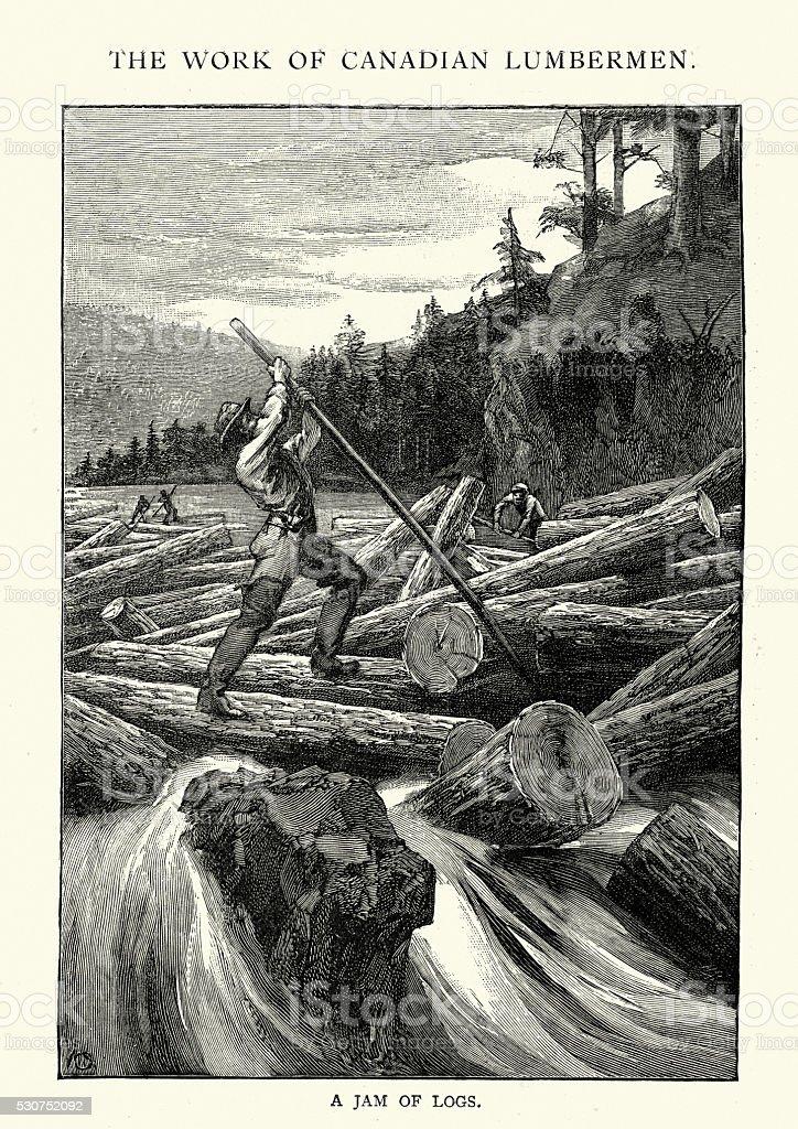 Lumberjacks clearing a log jam on a river, 1892 vector art illustration