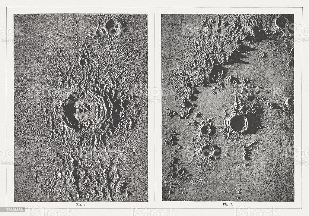 Lunar landscapes: 1) Crater Copernicus Crater, 2) Archimedes, published 1877 vector art illustration