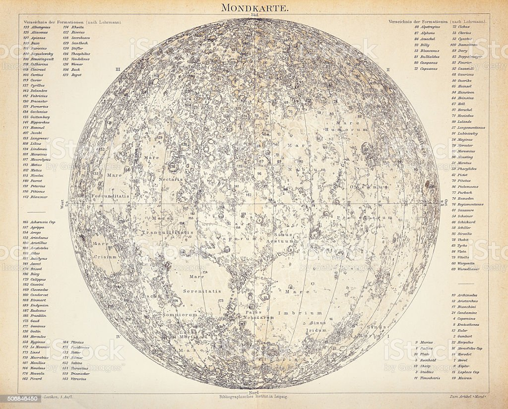 Lunar Map engraving 1896 vector art illustration