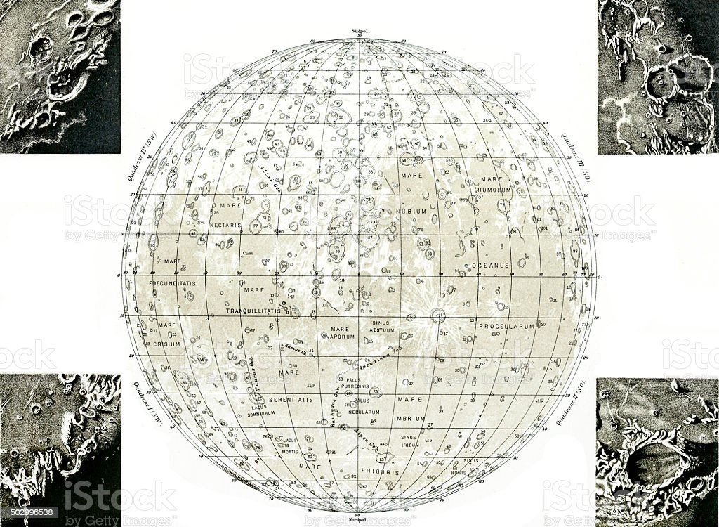 Lunar Map vector art illustration