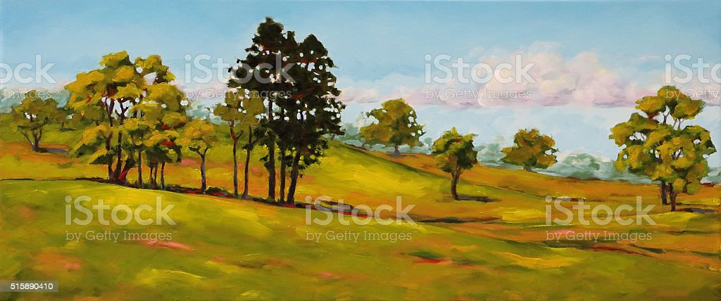 Lush Green Hills and Trees Landscape Painting vector art illustration