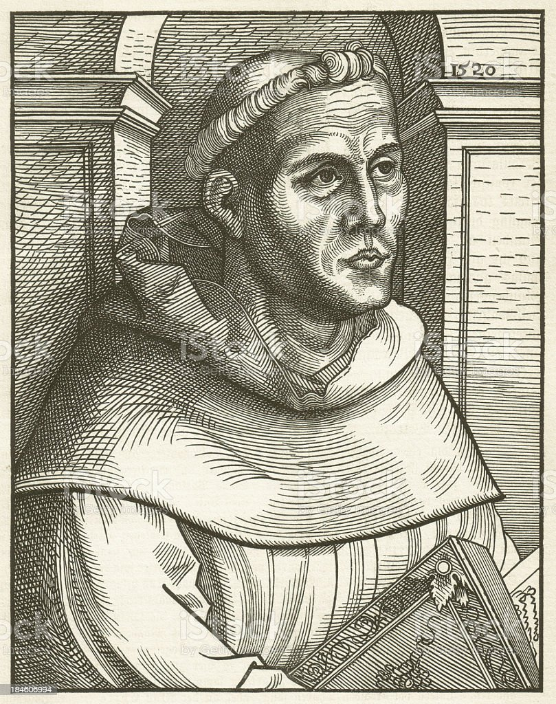Luther in 1520, as Augustinian monk, woodcut by Lucas Cranach royalty-free stock vector art