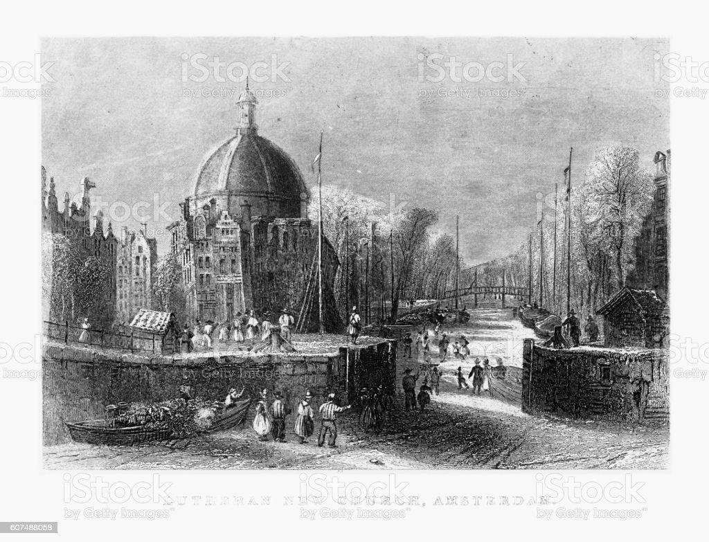 Lutheran New Church, Amsterdam, Circa 1887 vector art illustration