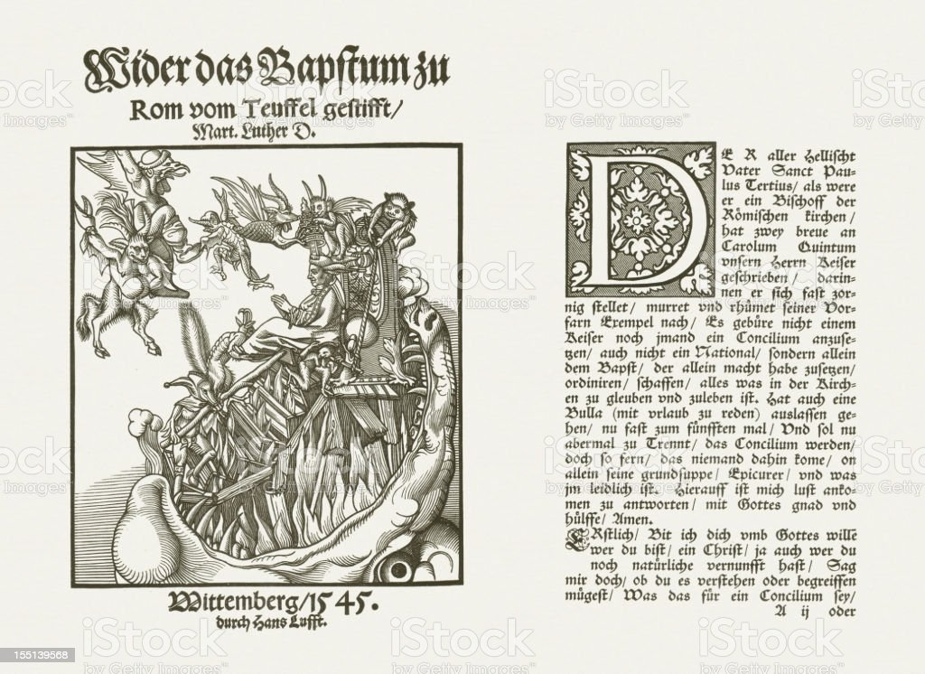 Luthers pamfleet, published by Hans Lufft, 1545 vector art illustration