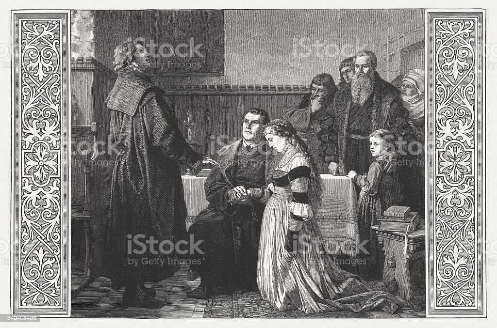 Luther's wedding to Katharina von Bora in 1525, published 1872 vector art illustration
