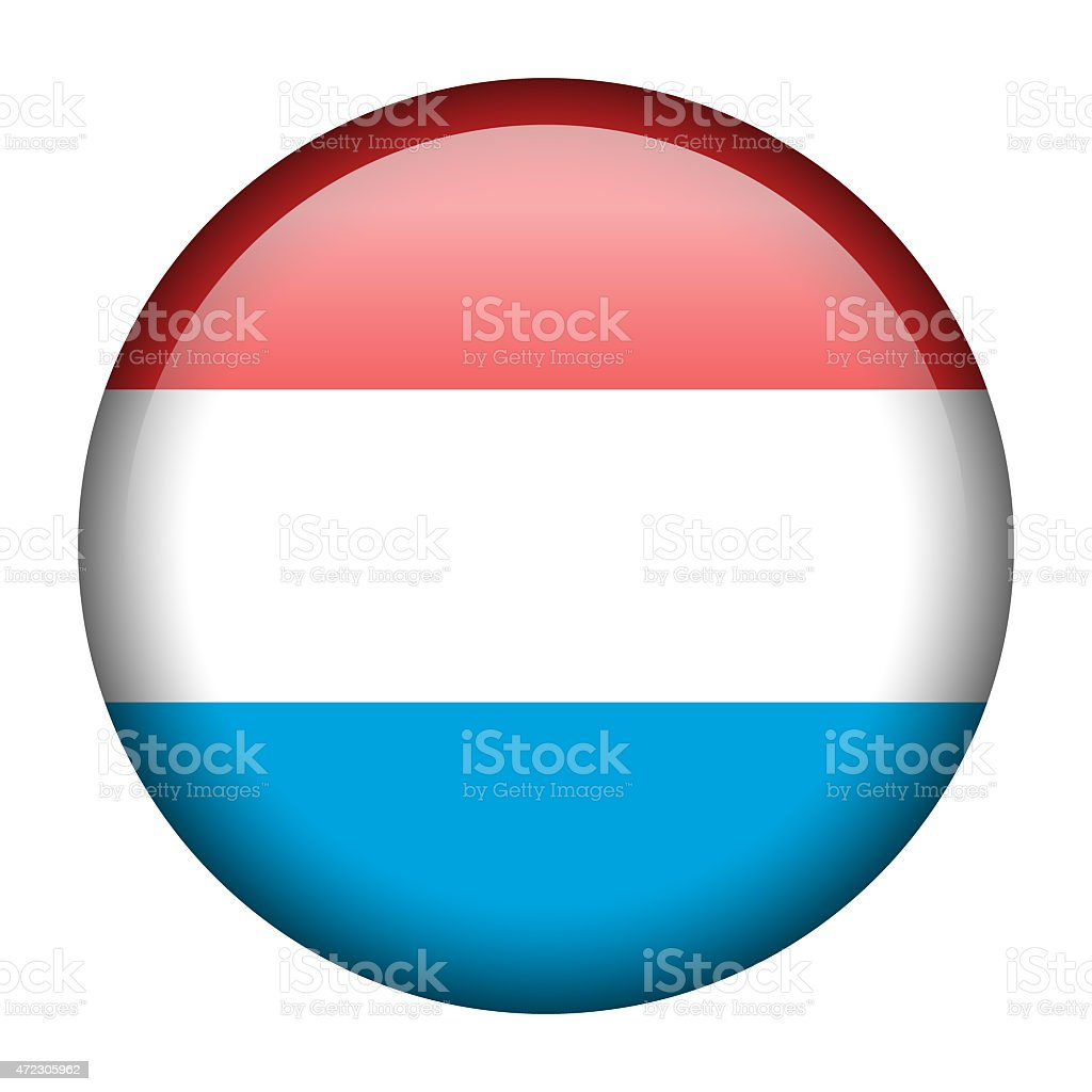 Luxembourg flag button vector art illustration