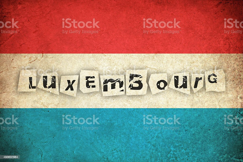 Luxembourg grunge flag with text vector art illustration