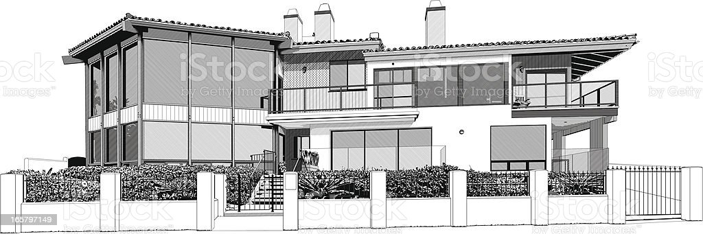 Luxury beach house property vector art illustration