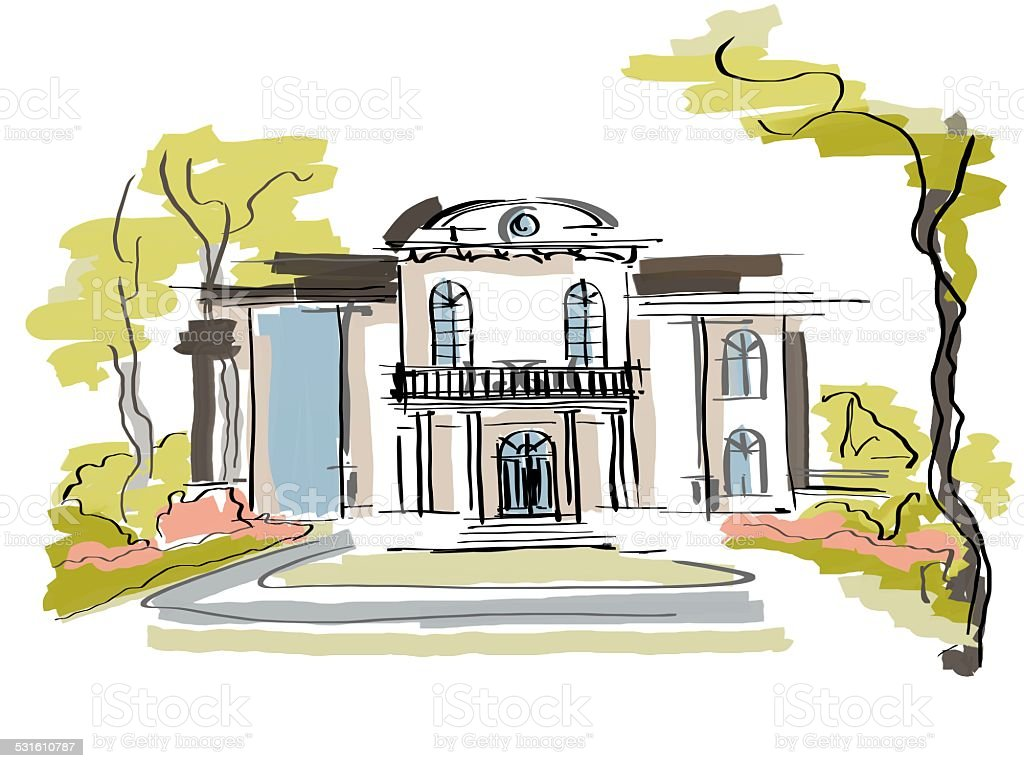 Luxury home ink painting real estate vector art illustration