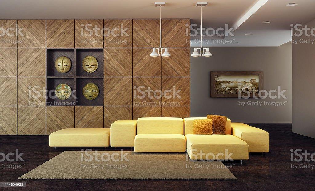 luxury lounge room 3d render vector art illustration