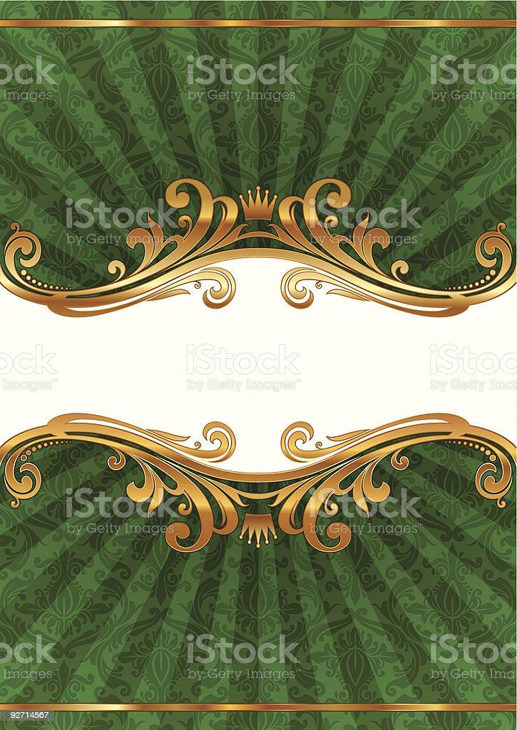 Luxury ornate illustration with golden frame royalty-free stock vector art