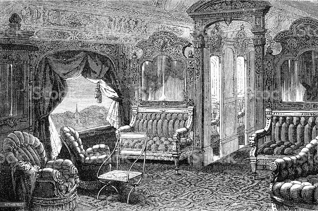 luxury saloon of wagon royalty-free stock vector art