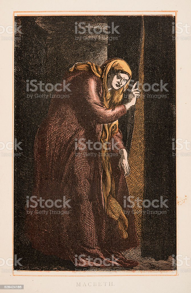Macbeth by Shakespeare engraving 1870 vector art illustration