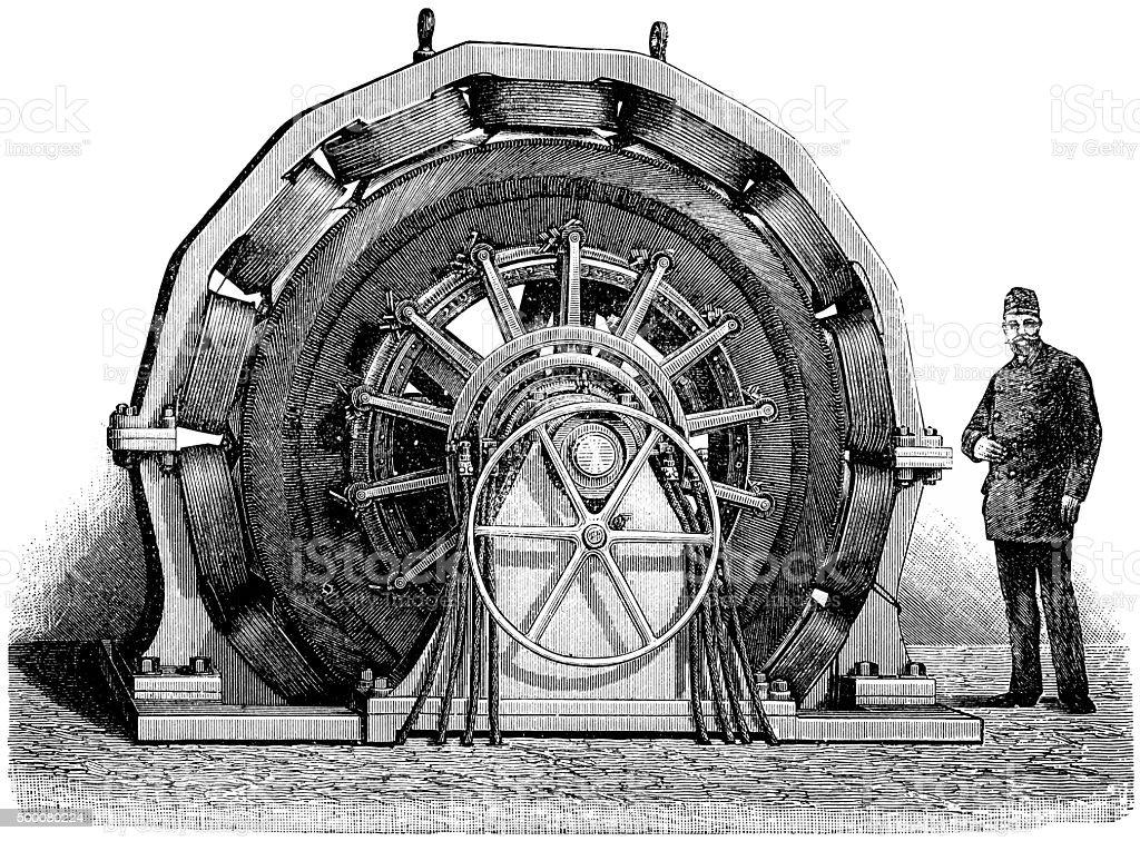 DC machine vector art illustration