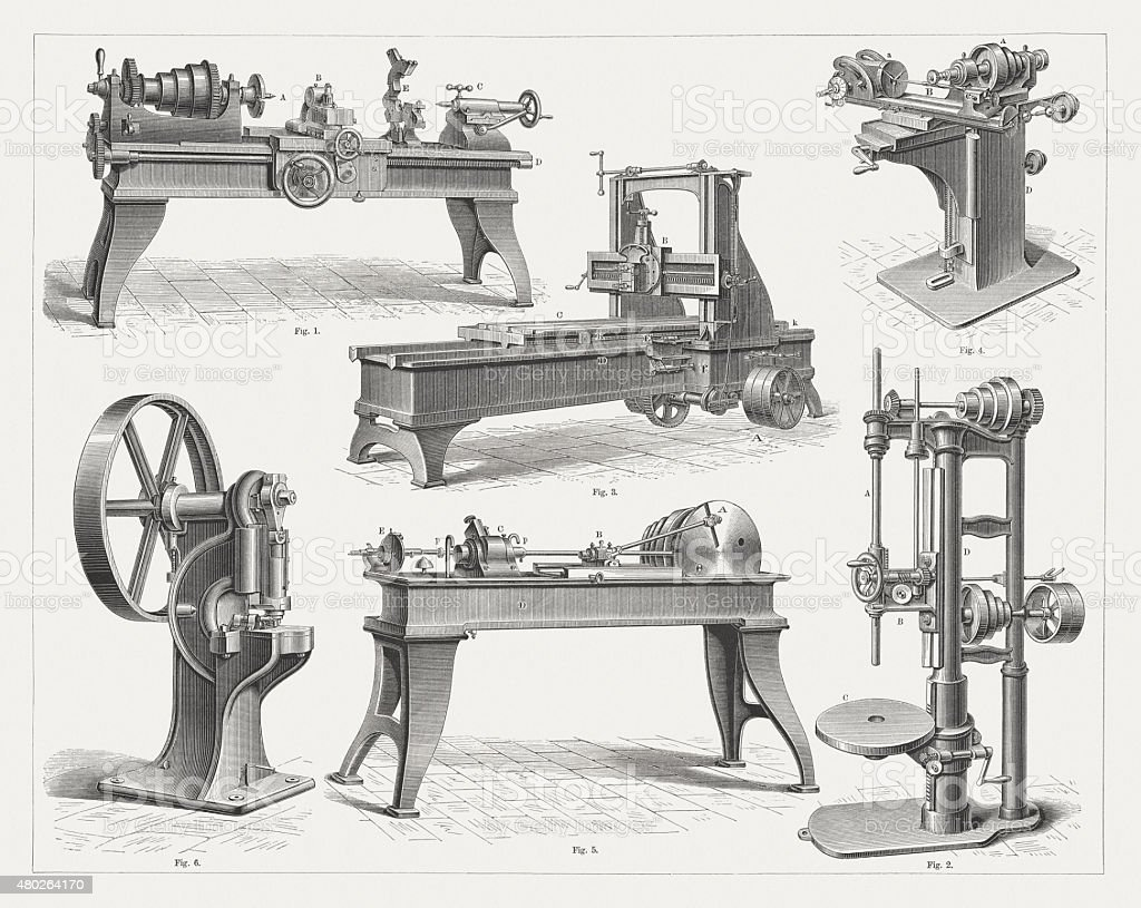 Machine tools, published in 1880 vector art illustration