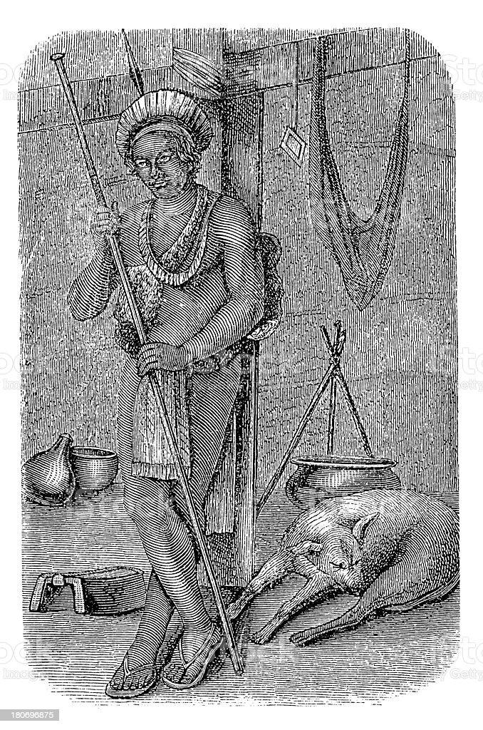 Macushi man, South America (antique wood engraving) royalty-free stock vector art