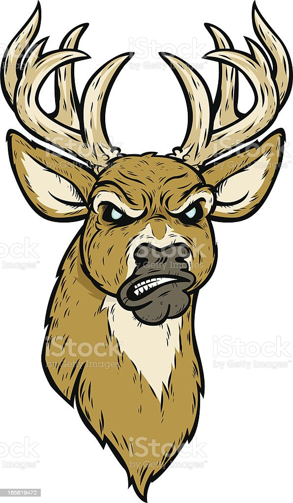 mad deer vector art illustration