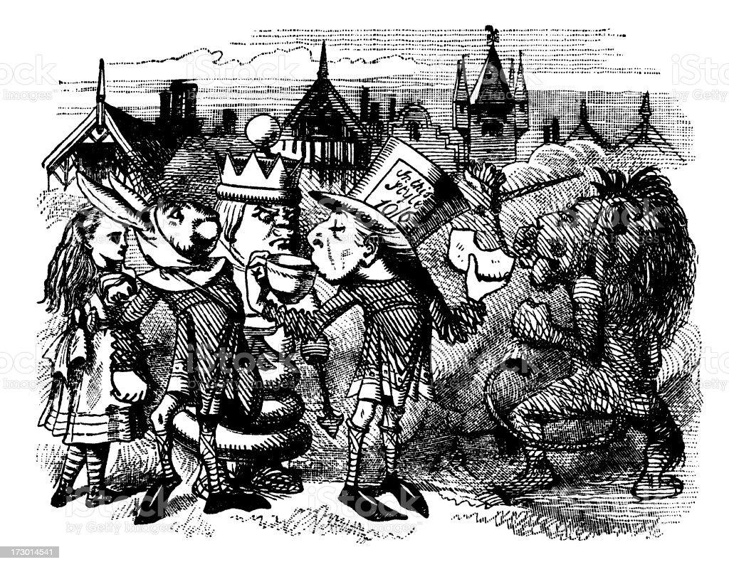 Mad hatter drinking tea illustration, (Alice's Adventures in Wonderland) royalty-free stock vector art
