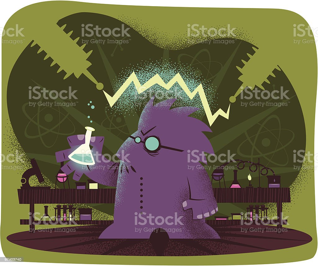 Mad Scientist vector art illustration