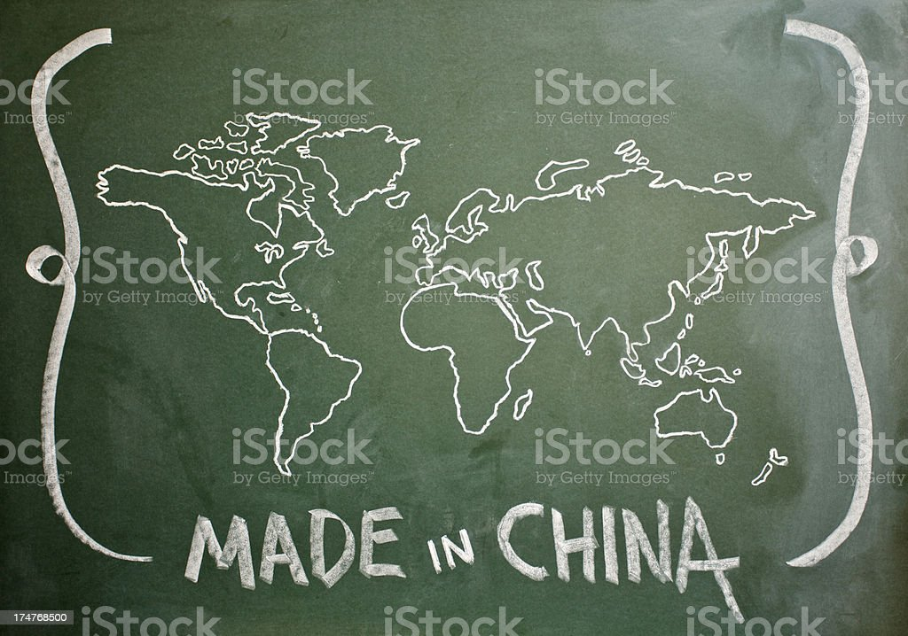 Made in China written on Greenboard Hand Drawn World Map vector art illustration