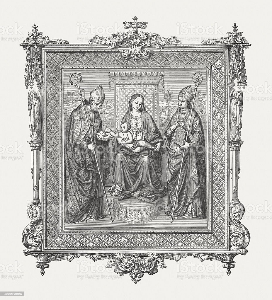 Madonna and Child with Saints, published 1878 vector art illustration