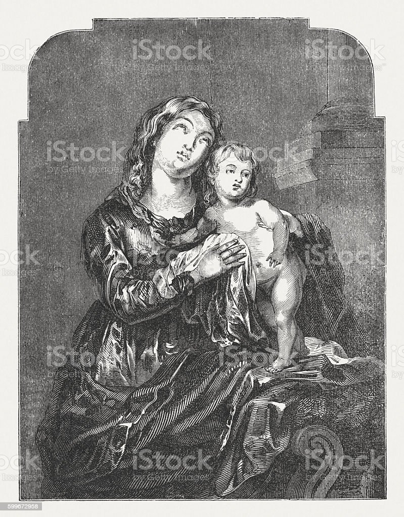 Madonna and Child, wood engraving after Sir Anthony van Dyck vector art illustration