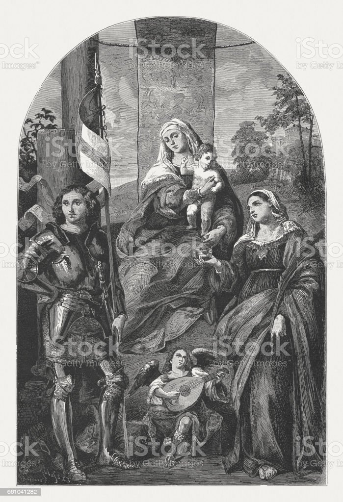 Madonna Enthroned, painted (1519/20) by Palma Vecchio, Vicenza, published 1884 vector art illustration