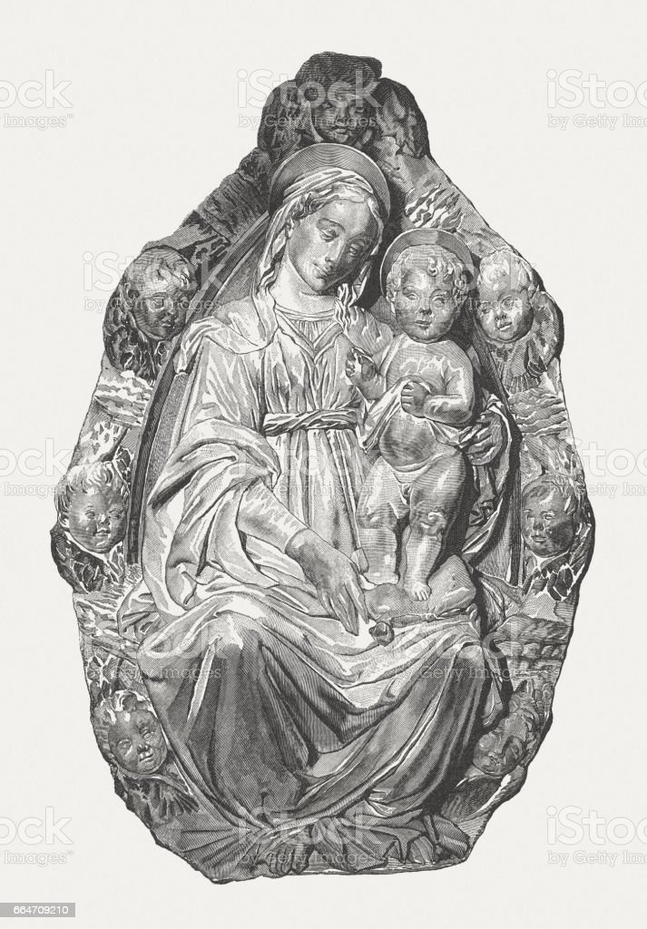 Madonna in glory, created (marble, 1468) by Benedetto da Maiano vector art illustration