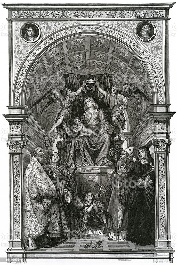 'Madonna, Italian Renaissance, Engraving' vector art illustration