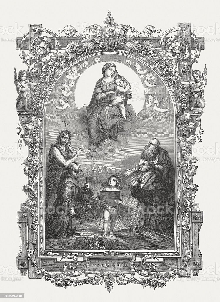 Madonna of Foligno (1511/12) by Raphael (Italian painter), bublished 1878 vector art illustration