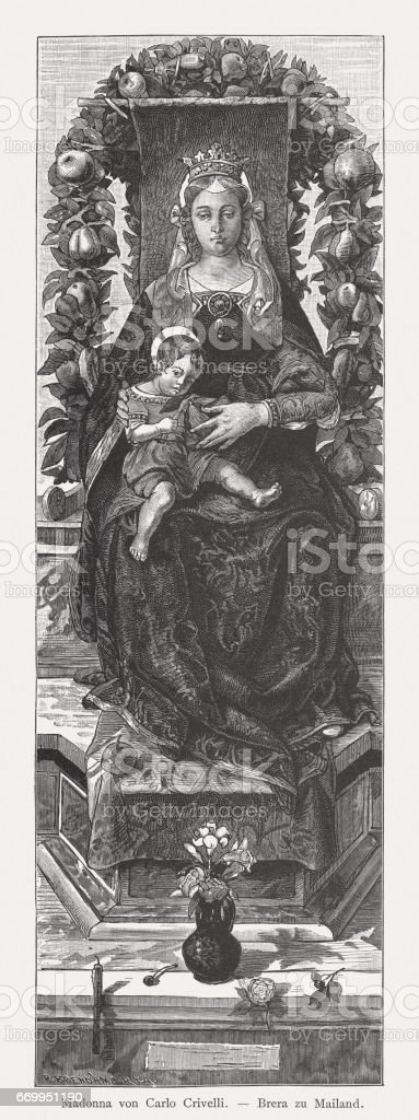 Madonna of the candle, painted (c.1490) by Carlo Crivelli, Milan vector art illustration