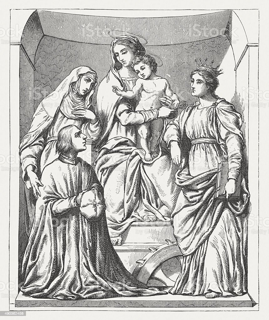 Madonna, painted (1516) by Baldassarre Peruzzi, published in 1878 vector art illustration