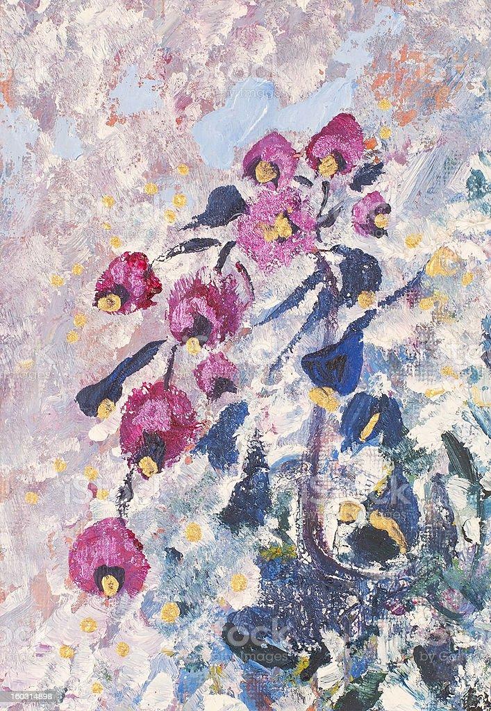 Jarrón con flores, Magenta illustracion libre de derechos libre de derechos